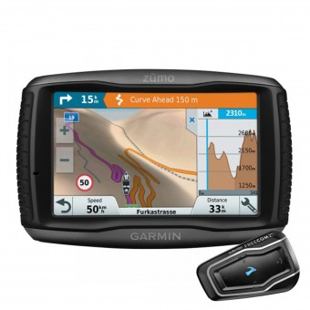 GPS-Navigatori Garmin Zumo 595 Travel Edition et Scala Rider Freecom 2