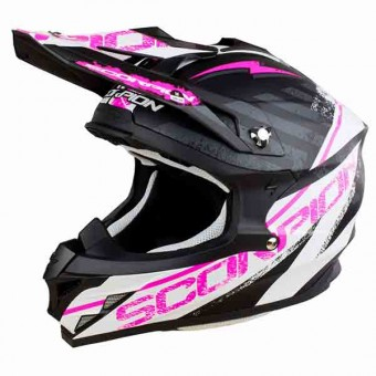 Casque Cross Scorpion VX-15 Evo Air Gamma Matt Black White Pink