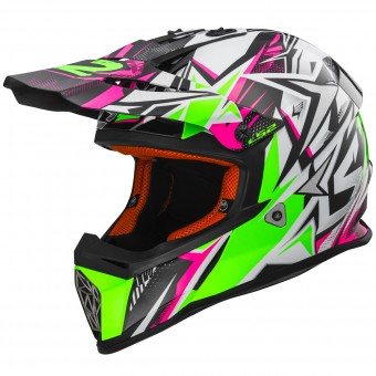 Casque Cross LS2 Fast Strong White Green Pink MX437