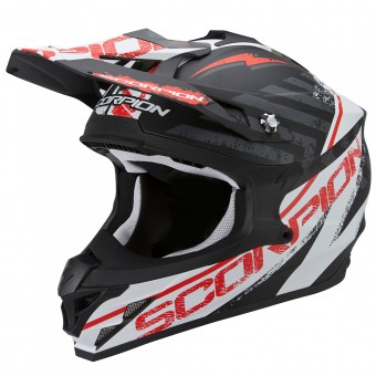 Casque Cross Scorpion VX-15 Evo Air Gamma Matt Black White Red