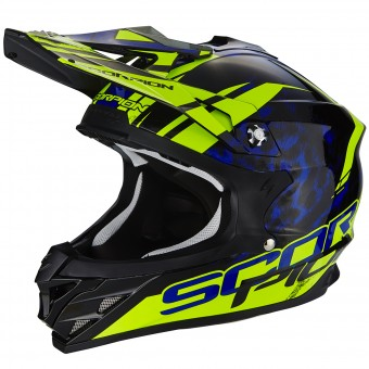 Casque Cross Scorpion VX-15 Evo Air Kistune Black Blue Neon Yellow