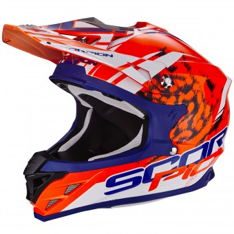 Casque Cross Scorpion VX-15 Evo Air Kistune Orange Blue White