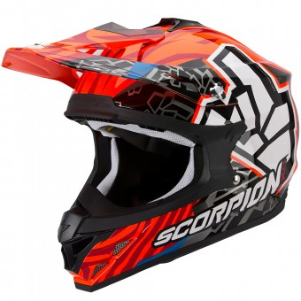 Casque Cross Scorpion VX-15 Evo Air Rok Bagoros Neon Orange