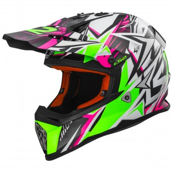 Casque Bambini LS2 Fast Mini Strong White Green Pink MX437J