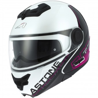 Casque Modulare Apribile Astone RT 800 Linetek Pink White
