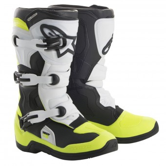 Stivali Cross Alpinestars Tech 3S Kids Black White Yellow Fluo