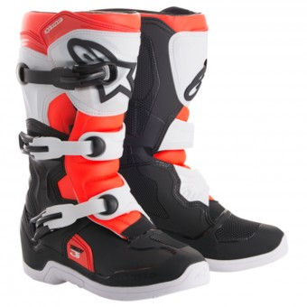 Stivali Cross Alpinestars Tech 3S Youth Black White Red Fluo