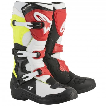 Stivali Cross Alpinestars Tech 3S Youth Black White Yellow Fluo