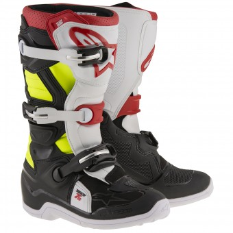 Stivali Cross Alpinestars TECH 7 S Black Red Yellow Fluo Bambino