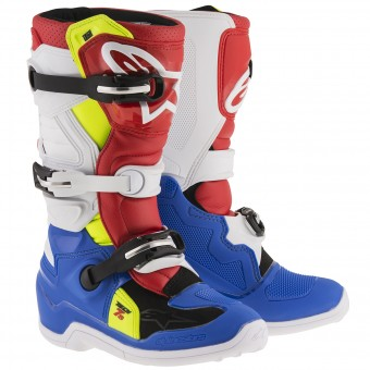 Stivali Cross Alpinestars TECH 7 S Blue Red Yellow Fluo Bambino