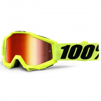 Maschera Cross 100% Accuri Fluo Yellow Mirror Red Lens Bambino