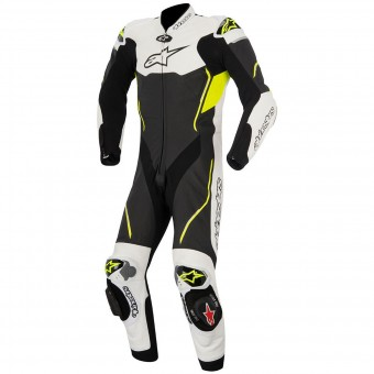 Tute Moto in pelle Alpinestars Atem Suit Black White Yellow Fluo
