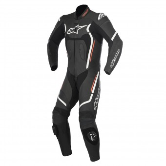 Tute Moto in pelle Alpinestars Motegi V2 Black White Red Fluo