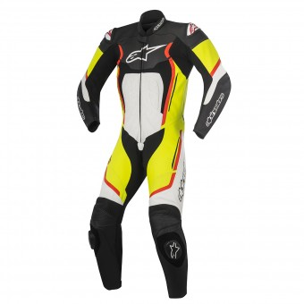 Tute Moto in pelle Alpinestars Motegi V2 Black White Yellow Red Fluo