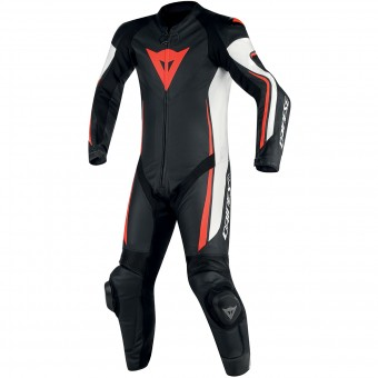 Tute Moto in pelle Dainese Assen 1PC Perf Black White Red Fluo