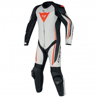 Tute Moto in pelle Dainese Assen 1PC Perf White Black Red Fluo