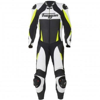 Tute Moto in pelle Furygan Full Apex White Yellow Fluo Black