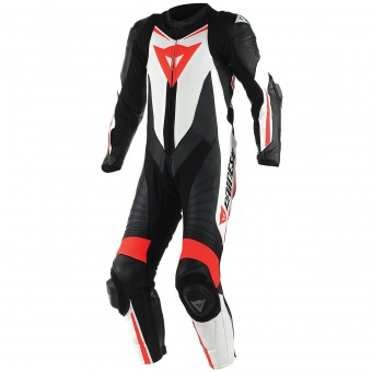 Tute Moto in pelle Dainese Laguna Seca D1 1 PC. Perforated Black Red Fluo