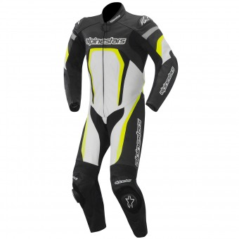 Tute Moto in pelle Alpinestars Motegi Suit Black Yellow Fluo