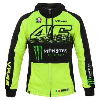Pullover Moto VR 46 Fleece Zip Replica Monster Fluo Yellow VR46