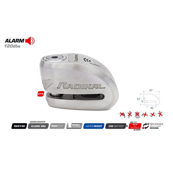 Radikal Bloccadisco Allarme SRA Inox Diametro 14