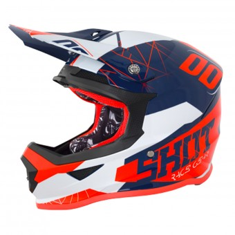 Casque Cross SHOT Furious Spectre Blue Neon Orange