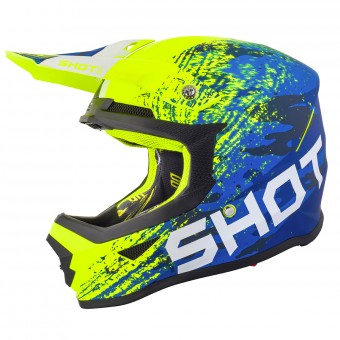 Casque Cross SHOT Furious Counter Blu Neon Giallo Opaco