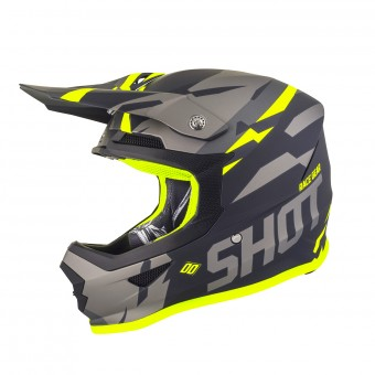 Casque Cross SHOT Furious Score Grigio Neon Giallo Opaco