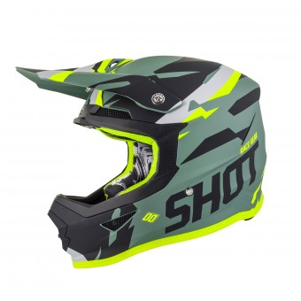 Casque Cross SHOT Furious Score Kaki Neon Giallo Opaco