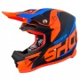 Casque Cross SHOT Furious Ultimate Blu Neon Arancione Opaco