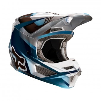 Casque Cross FOX V1 Motif Blu Grigio