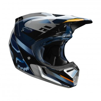 Casque Cross FOX V3 Motif Blu Argento