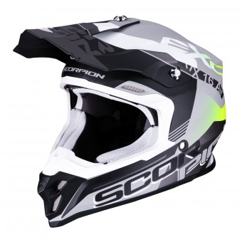 Casque Cross Scorpion VX-16 Air Arhus Argento Opaco Nero Giallo Fluo