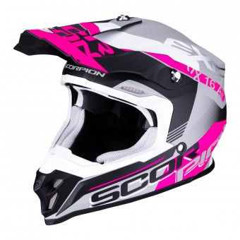 Casque Cross Scorpion VX-16 Air Arhus Argento Opaco Nero Rosa