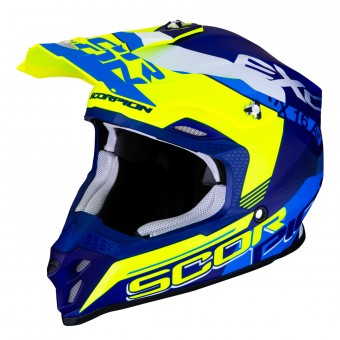 Casque Cross Scorpion VX-16 Air Arhus Blu Opaco Giallo Fluo