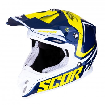 Casque Cross Scorpion VX-16 Air Ernee Blu Giallo Bianco