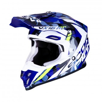 Casque Cross Scorpion VX-16 Air Waka Nero Bianco Blu