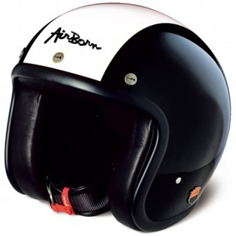 casco moto airborn steve ab 2 black cream pronto per l 39 invio. Black Bedroom Furniture Sets. Home Design Ideas