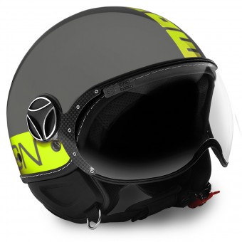 Casque Jet Momo Design FGTR Grey Yellow Fluo
