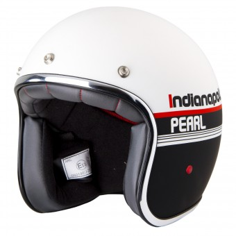 Casque Jet Stormer Pearl Indianapolis Nero Blanco Mat