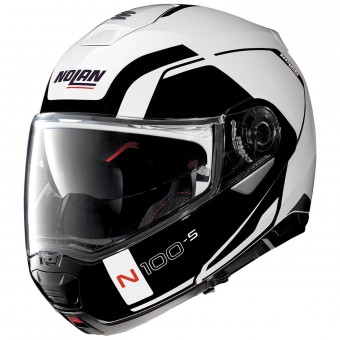 Casque Modulare Apribile Nolan N100 5 Consistency N-Com Metal White 19