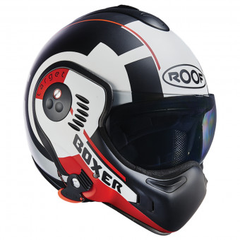 Casque Modulare Apribile Roof Boxer V8 Target Matt White Black Red