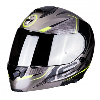 Casque Modulare Apribile Scorpion EXO 3000 Air Titanio Nero Giallo Fluo