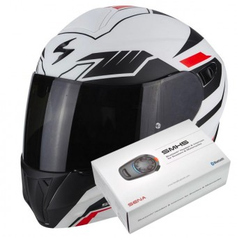 Casque Modulare Apribile Scorpion Exo 920 Shuttle Matt White Black