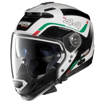 Casque Modulare Crossover Nolan N44 Evo Viewpoint N-Com Metal White Italy 53