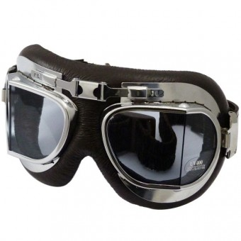 Maschera Moto Torx Air Force Marrone Chrome - Trasparente