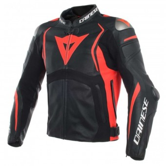Giacche moto Dainese Mugello Leather Black Fluo Red