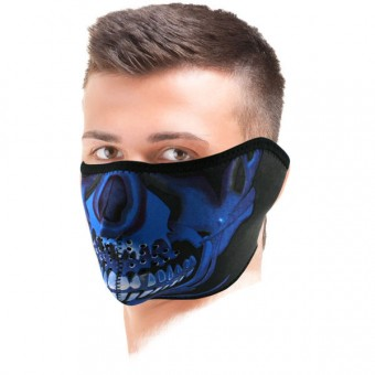 Scaldacollo Moto Zanheadgear Blue Chrome Skull