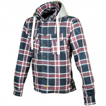 Giacche moto Booster Hoodie Kevlar Hunt Blue Grey Red