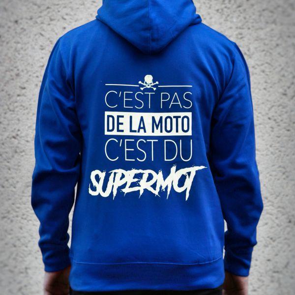 Pullover Moto Kikaninac Sweat Hoodie Supermot Blu